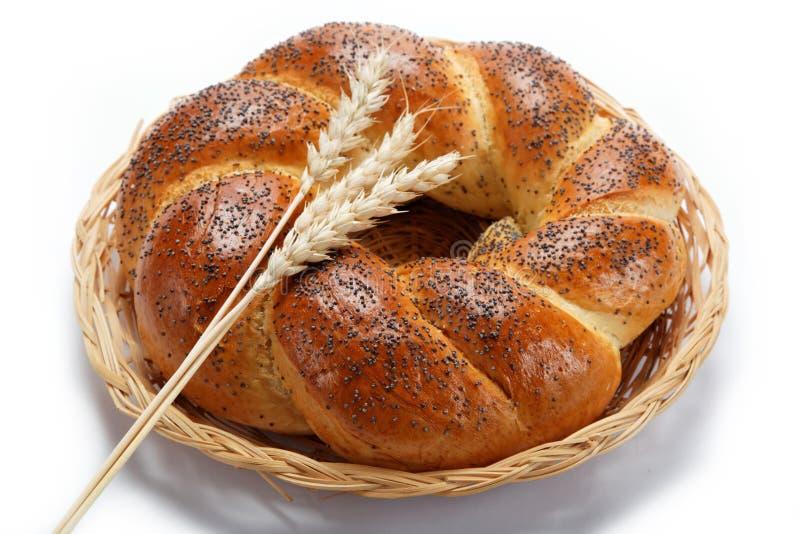 一个新鲜的面包洒与罂粟种子。 免版税库存照片