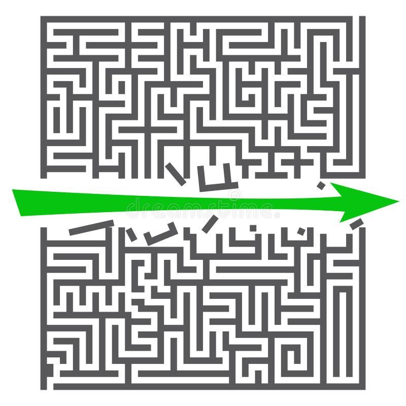 一个方形的迷宫 : 与绿色箭头的迷宫比赛 您的企业项目的灰色迷宫 r 皇族释放例证