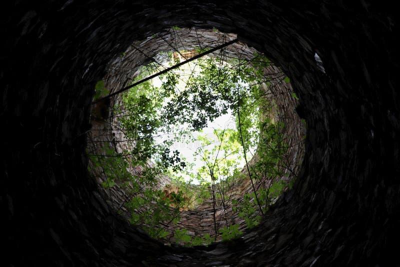 一个无屋顶塔的里面 库存照片