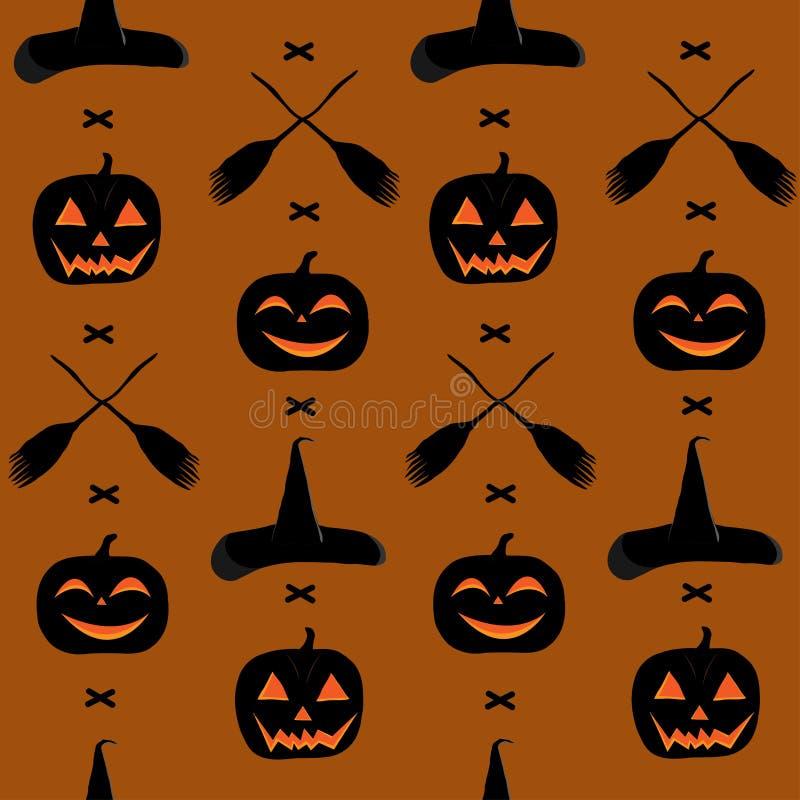 一个无缝的样式为天万圣夜,用南瓜、笤帚和巫婆帽子 免版税库存图片