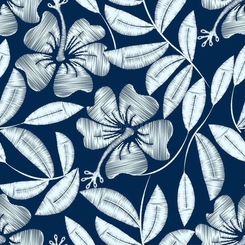 一个无缝的样式的白色详细的刺绣木槿植物 向量例证