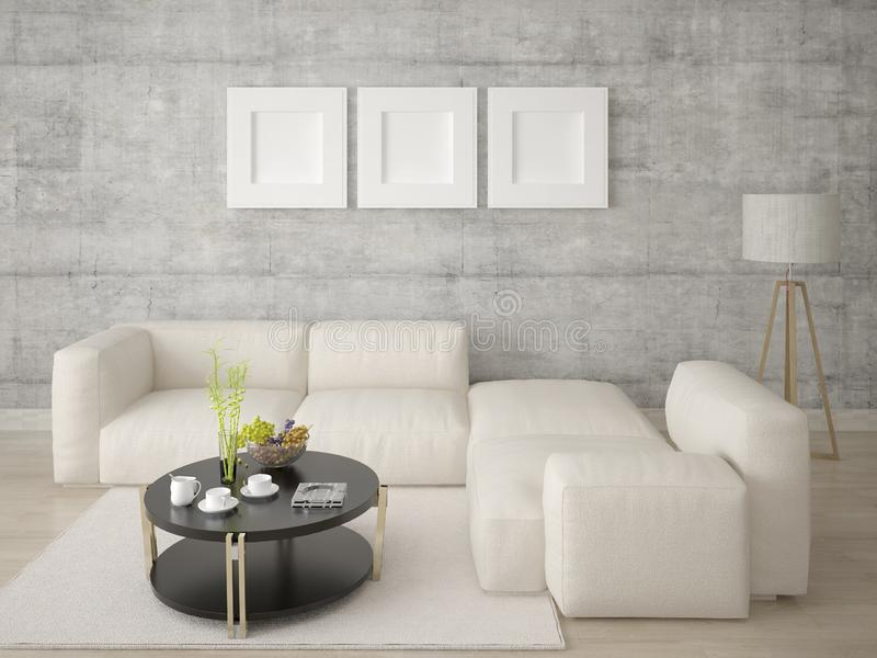 一个时髦客厅的嘲笑有一个时髦,原始的沙发的 库存例证