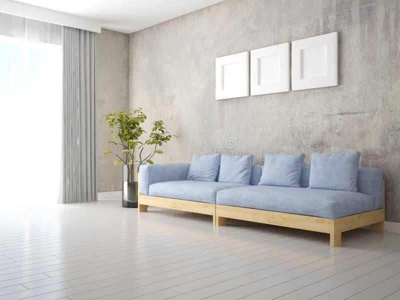 一个时髦的客厅的嘲笑有一个原始的沙发的 皇族释放例证
