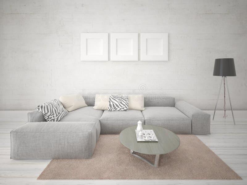 一个时髦的客厅的嘲笑有一个大壁角沙发的 皇族释放例证