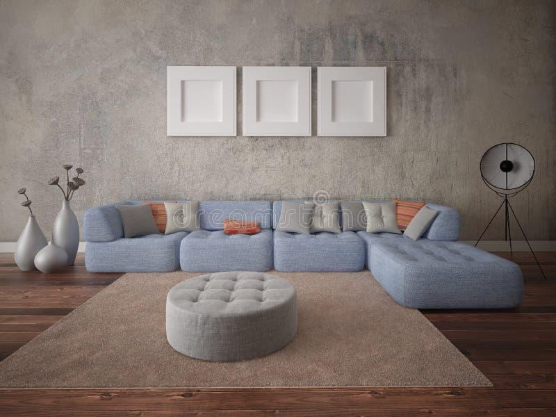一个时髦的客厅的嘲笑有一个经典时兴的沙发的 库存例证