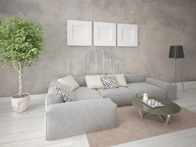 一个时髦的客厅的嘲笑有一个舒适的壁角沙发的 皇族释放例证