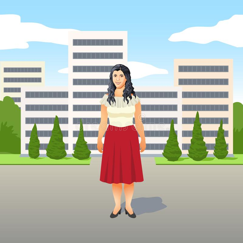 一个时髦的红色裙子身分的俏丽的年轻拉丁美州的妇女微笑在街道的 库存例证