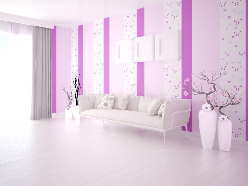 一个明亮的客厅的嘲笑有一个明亮的时髦的沙发的 向量例证