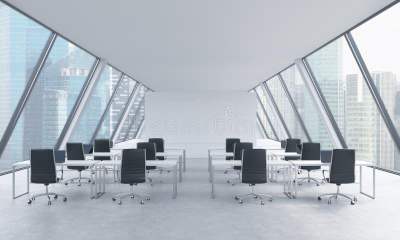一个明亮的现代露天场所的工作场所向高处发射办公室 白色桌和黑椅子 新加坡全景在窗口里 3D r 向量例证