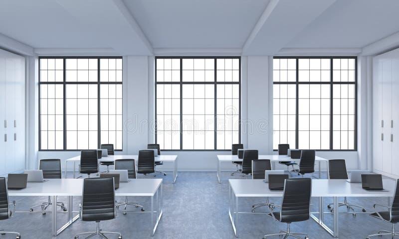 一个明亮的现代露天场所的工作场所向高处发射办公室 向量例证