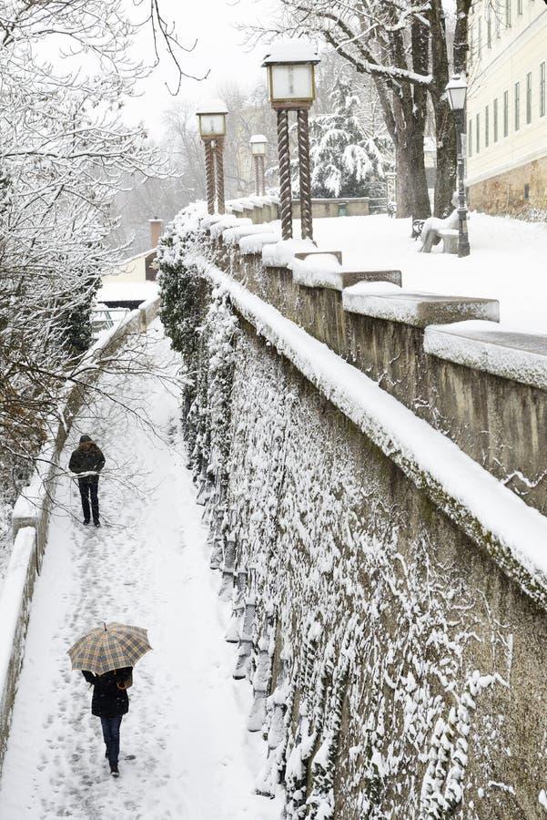 一个普遍的上部镇萨格勒布走道的一个浪漫看法包括i 免版税库存照片