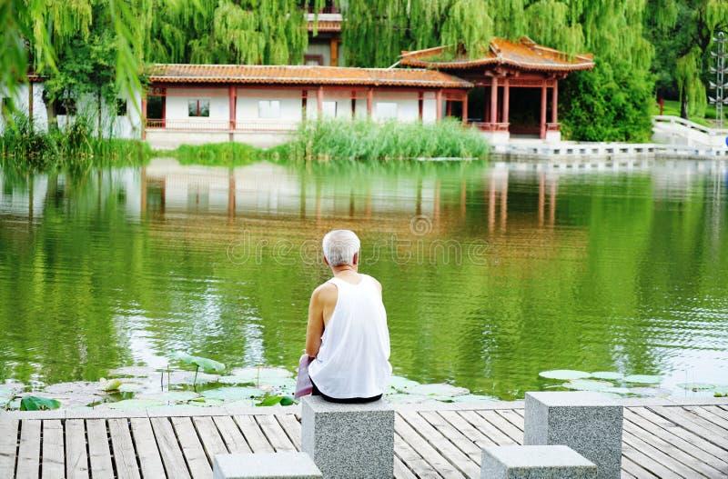 一个更老的人享受风景他自己 库存照片