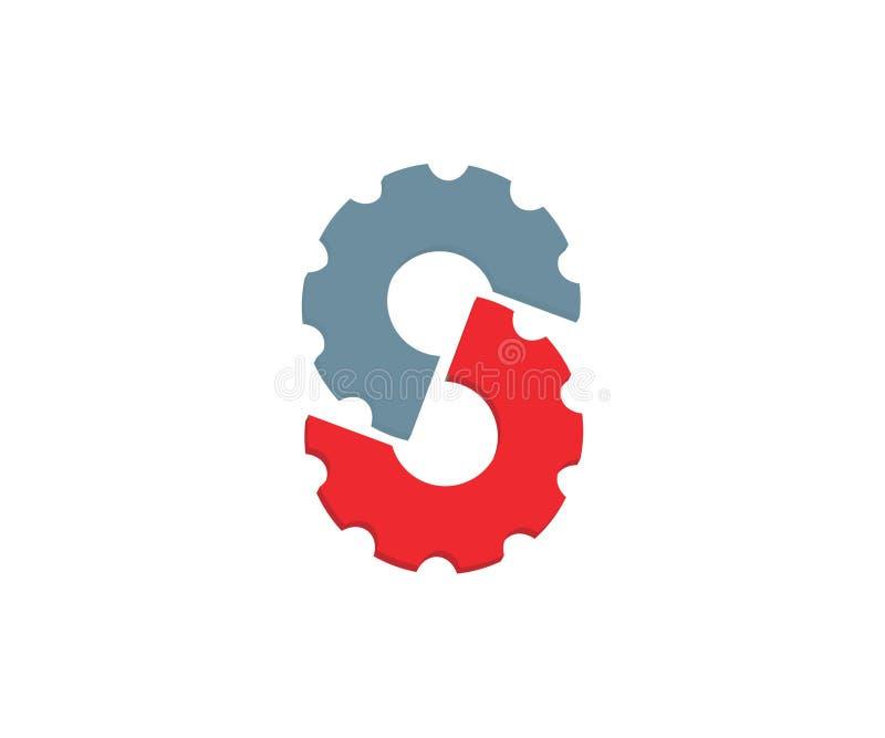 一个最初的商标由两个齿轮制成 库存例证