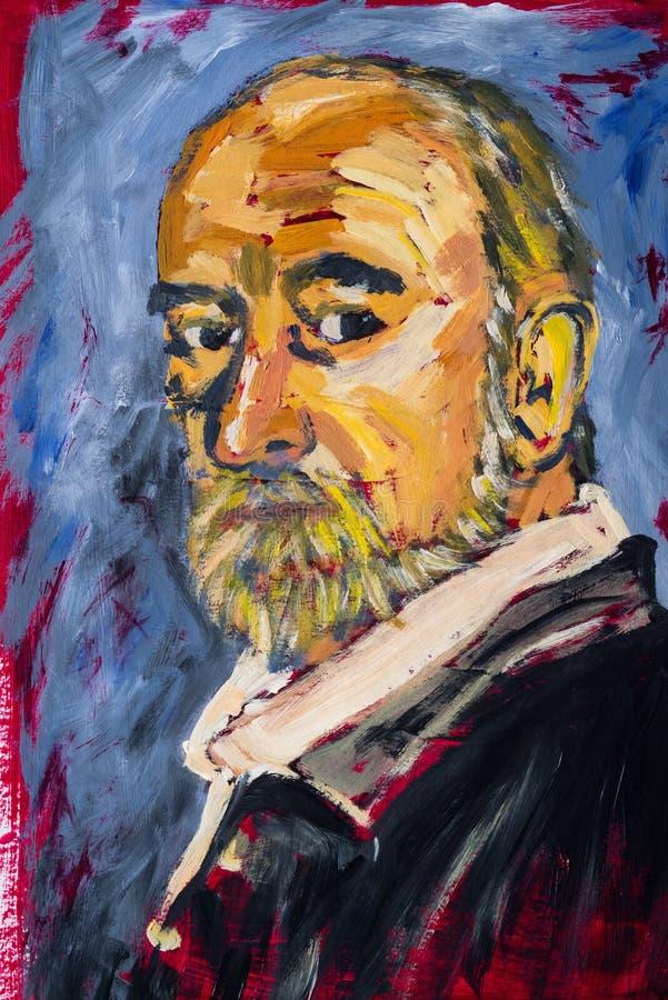 一个有胡子的人的有想象力的丙烯酸酯的绘画画象 向量例证