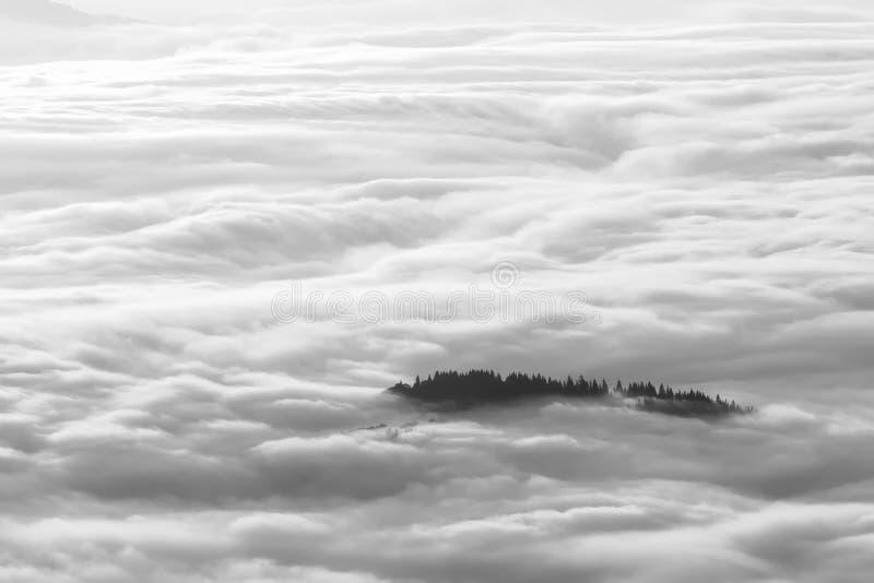 一个有雾的早晨的田园诗山风景hdr 图库摄影