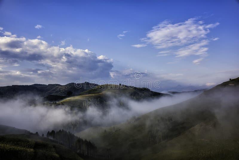 一个有雾的早晨的美好的山风景与树和云彩的 免版税库存照片
