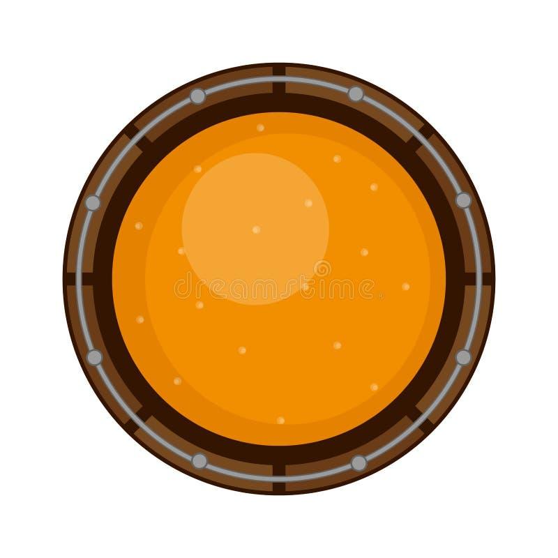 一个木啤酒桶的顶视图 库存例证