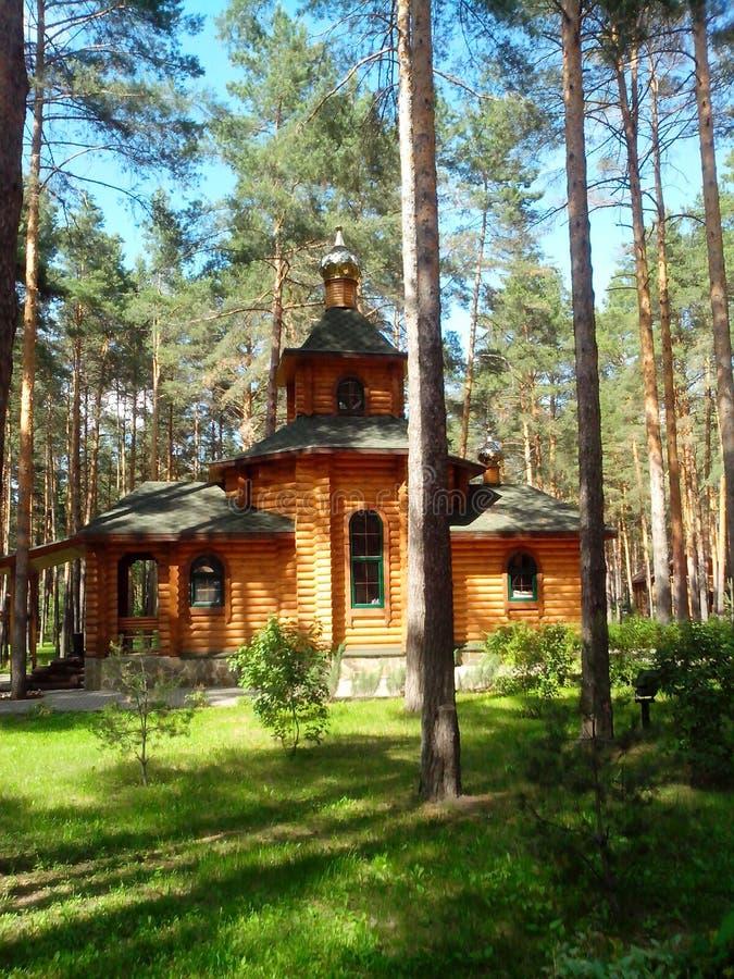 一个木教会在杉木森林里 免版税库存照片