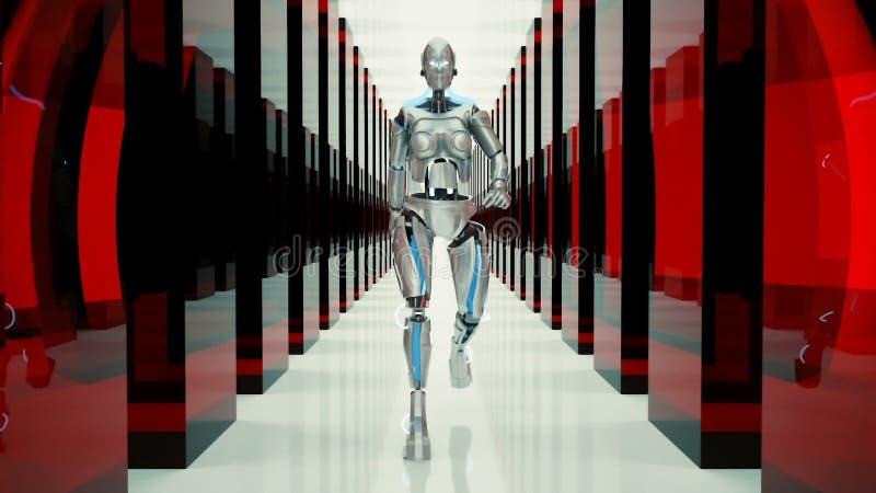 一个未来派有人的特点的机器人,走通过一个意想不到的隧道 向量例证
