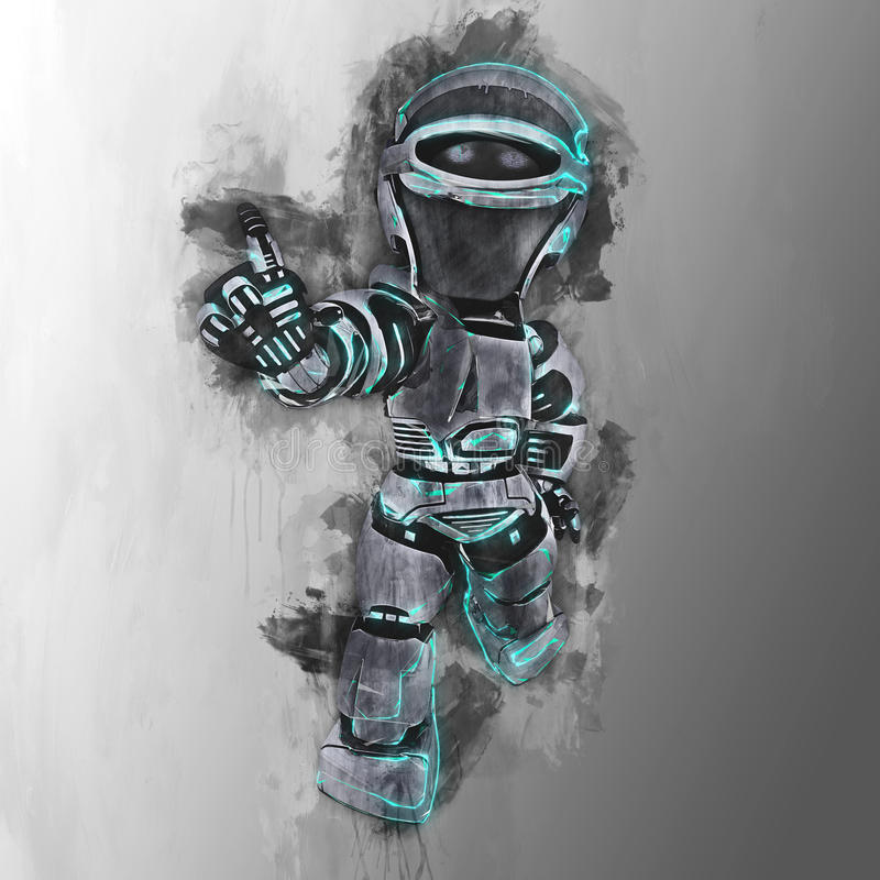 一个未来派机器人的被绘的设计 向量例证