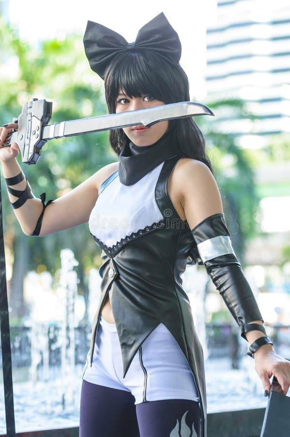 一个未认出的日本芳香树脂cosplay姿势 免版税库存图片