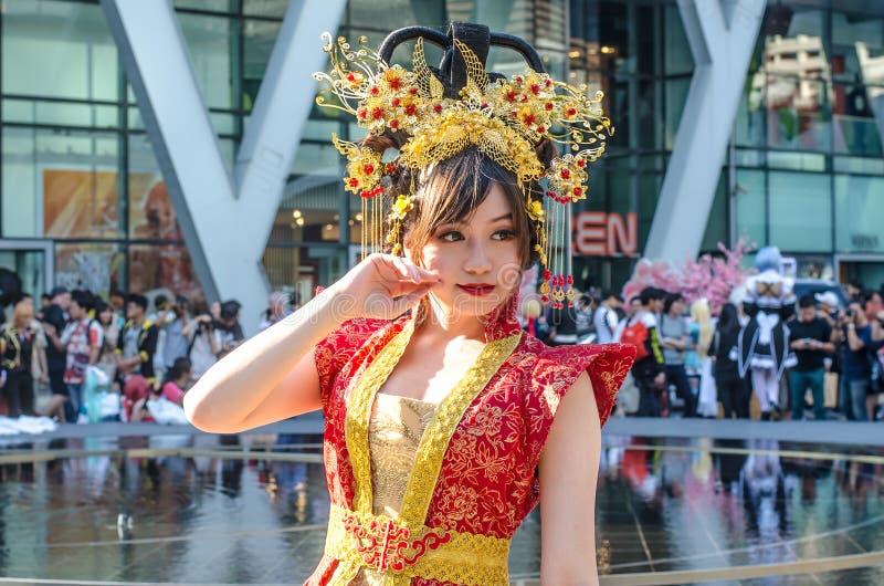 一个未认出的日本芳香树脂cosplay姿势 库存图片