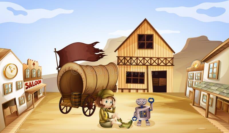 一个机器人和一个女孩在无盖货车旁边 向量例证