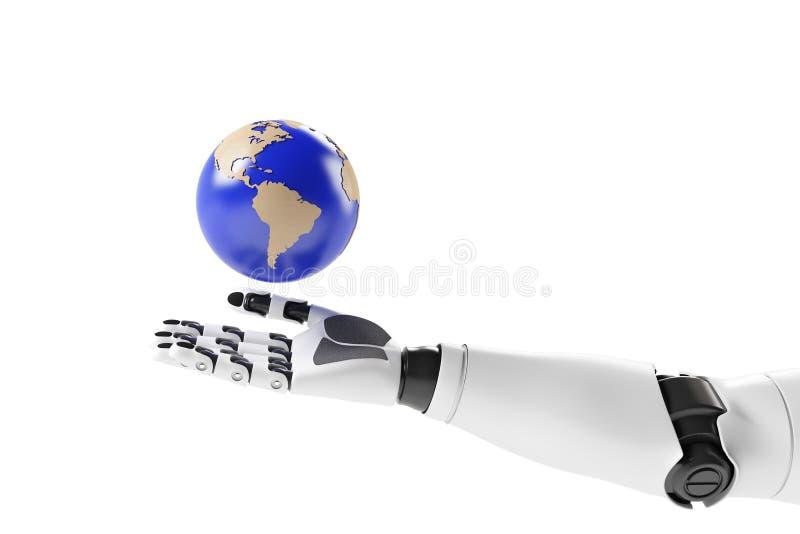 一个机器人的手有地球的 免版税库存图片
