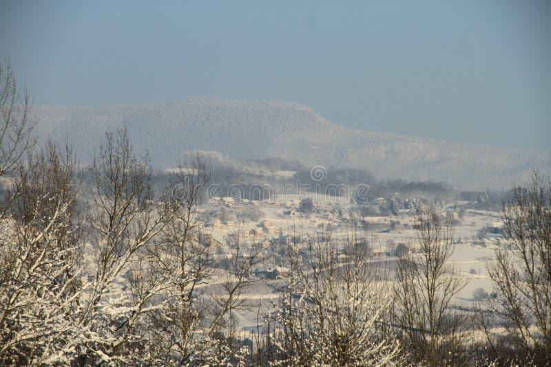 一个村庄在冬天 图库摄影