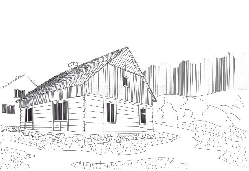 一个村庄木房子为城市居民的都市生活 皇族释放例证