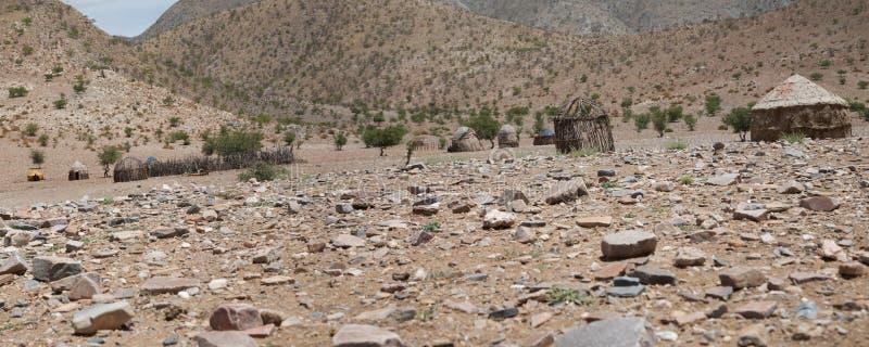 一个村庄的全景在纳米比亚 免版税库存照片