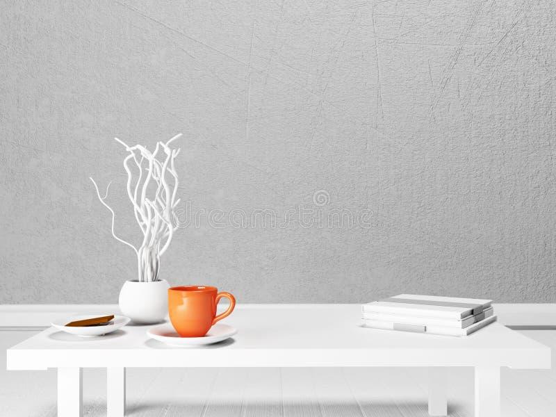 一个杯子、一个花瓶和书在白色桌上 皇族释放例证