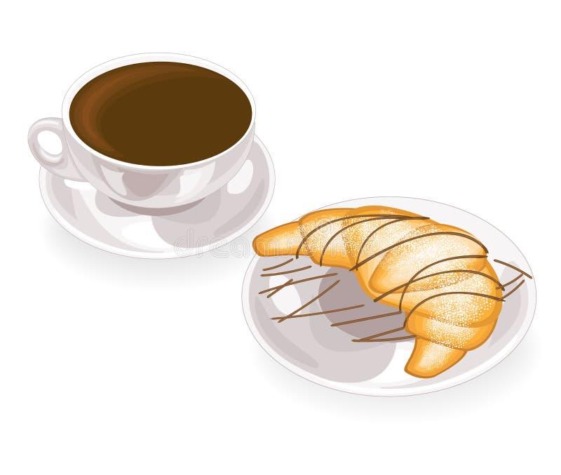 一个杯子可口无奶咖啡和一个新鲜的新月形面包在一块板材用巧克力 r 库存例证