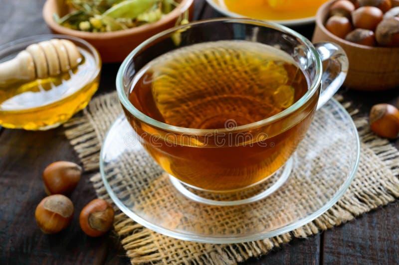 一个杯子新鲜的芬芳清凉茶用蜂蜜和榛子在黑暗的木背景 库存图片