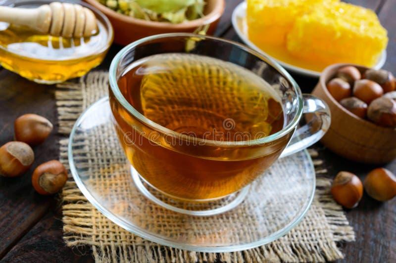 一个杯子新鲜的芬芳清凉茶用蜂蜜和榛子在黑暗的木背景 免版税图库摄影