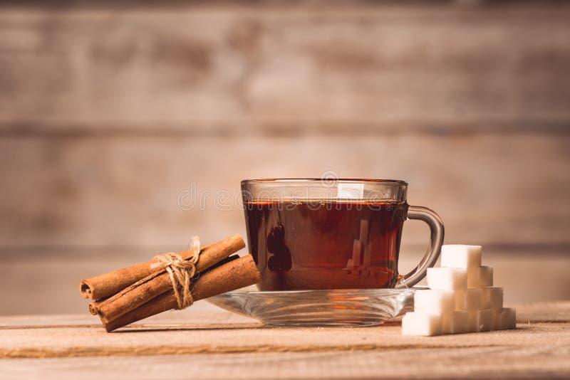 一个杯子用茶、糖和桂香 库存图片