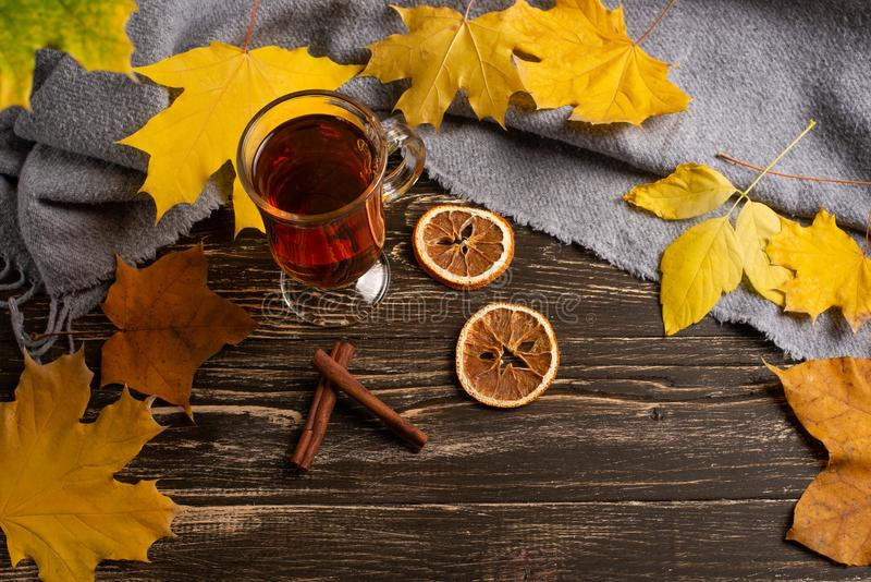 一个杯子秋天茶和黄色干燥叶子 复制空间 热的饮料秋天冷的雨天 Hygge概念,秋天心情 平的位置 免版税库存照片