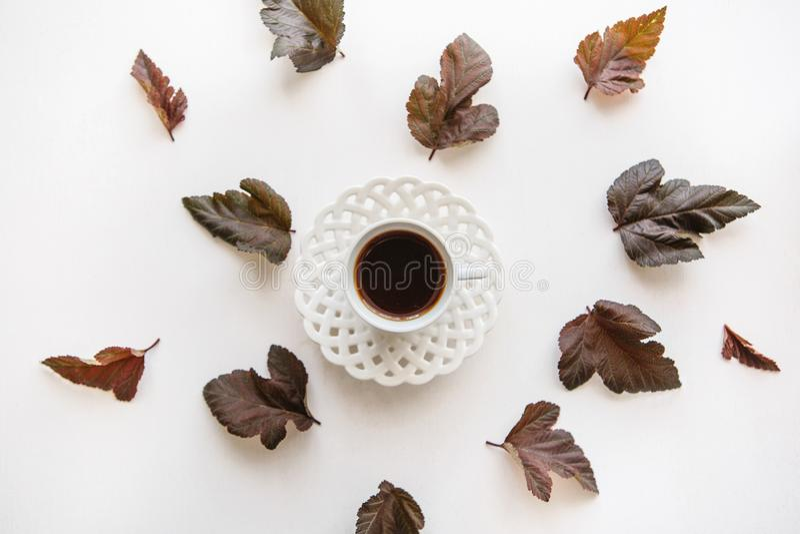 一个杯子芳香浓咖啡或红茶 附近的谎言秋叶 免版税库存图片