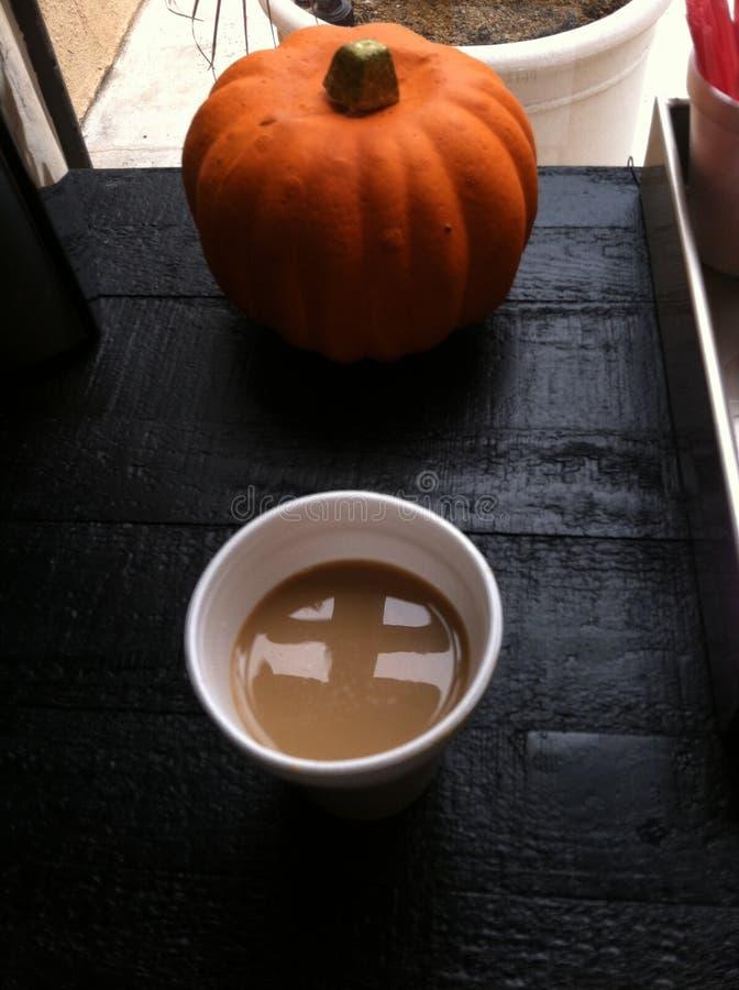 一个杯子coffe和南瓜 库存图片