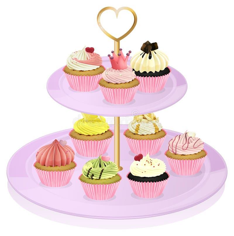 一个杯形蛋糕立场用杯形蛋糕 向量例证