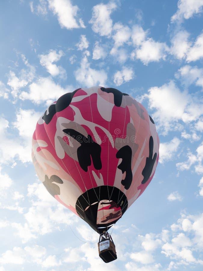 一个桃红色伪装气球在飞行中在大天空气球Rendevous 库存图片