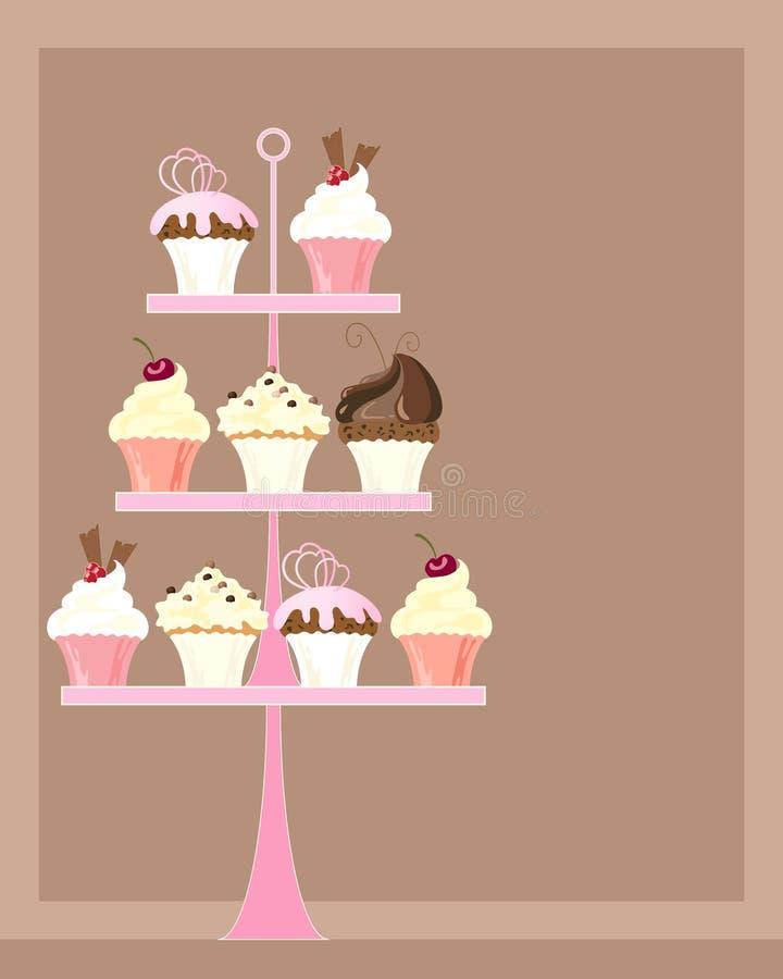 杯形蛋糕立场 库存例证