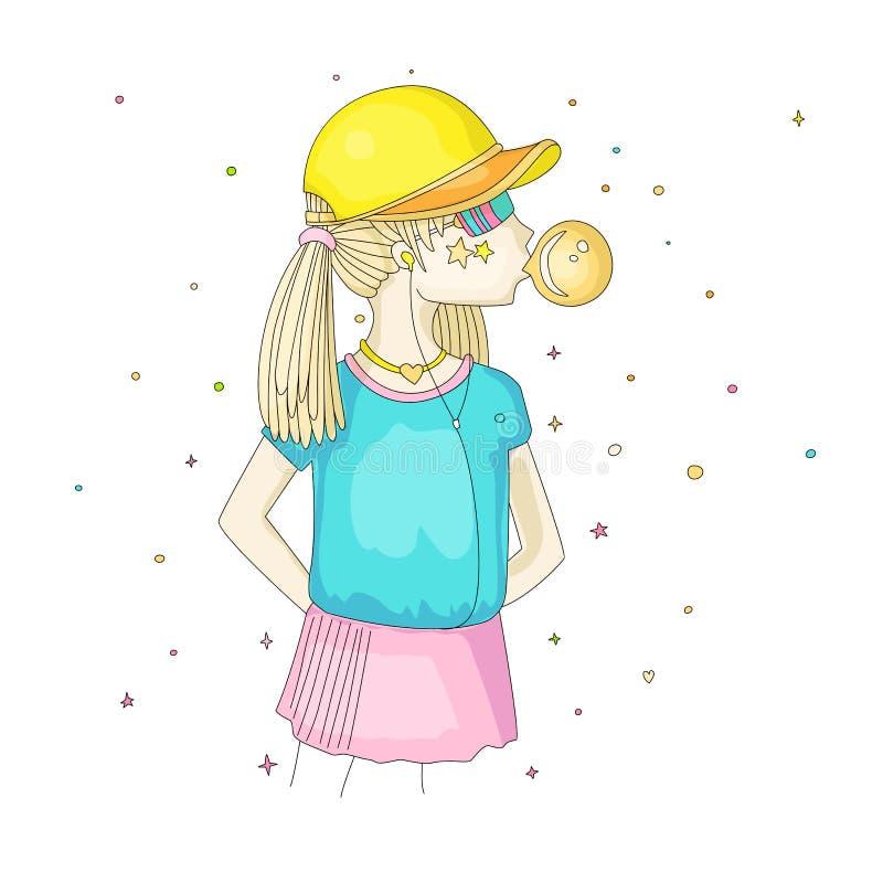 一个棒球帽的青少年女孩有吹bubblegum的耳机的 女孩传染媒介动画片手凹道例证 库存例证