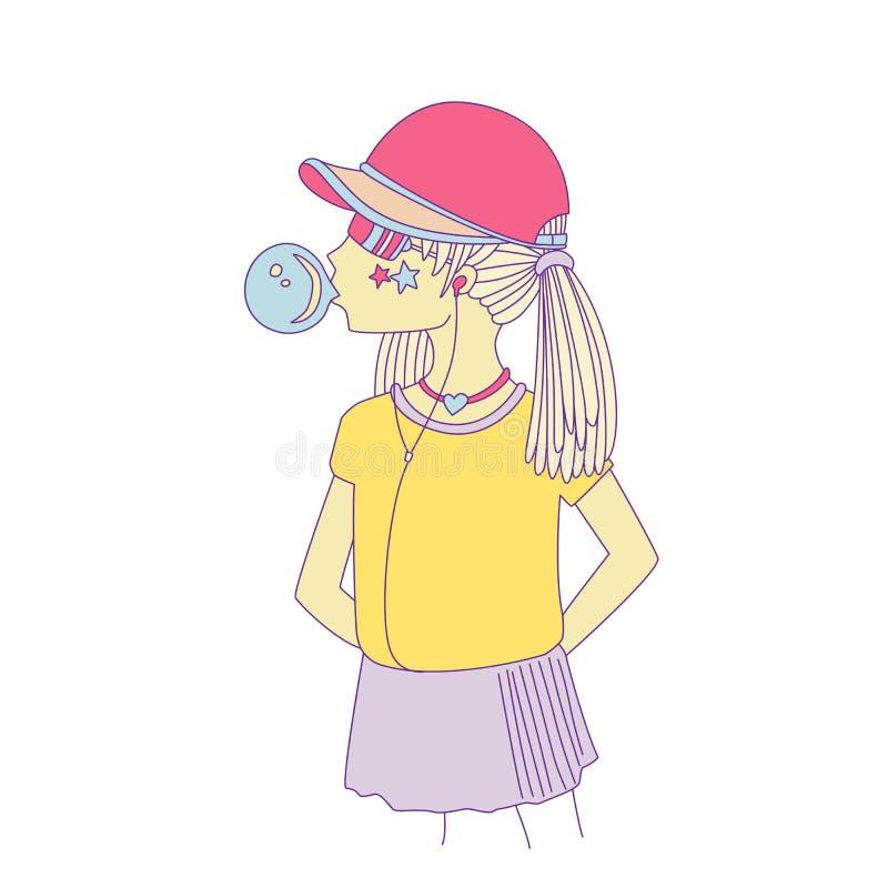 一个棒球帽的青少年女孩有吹bubblegum的耳机的 女孩传染媒介动画片手凹道例证 皇族释放例证