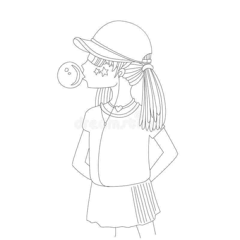 一个棒球帽的青少年女孩有吹bubblegum线象的耳机的 女孩传染媒介动画片铅笔图 向量例证