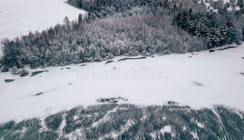 一个森林和冻湖的航拍在冬天 库存图片
