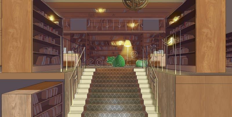 一个楼梯的例证在图书馆里 免版税图库摄影