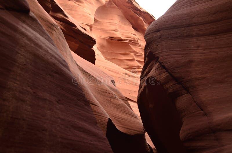 一个槽孔峡谷的红色岩石墙壁在亚利桑那 库存图片