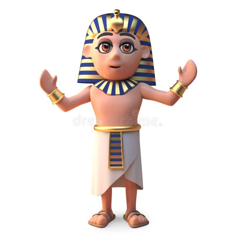 一个欢呼的埃及法老王Tutankhamun,3d例证 皇族释放例证