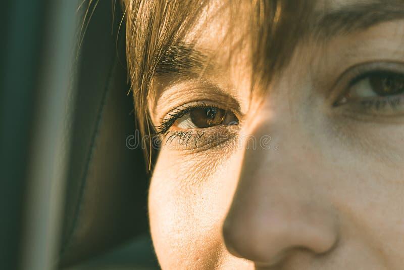 一个正常女孩的眼睛 库存图片
